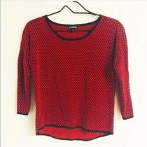 Express Women Polka Dotted Knit Sweater Red Size Medium Photo