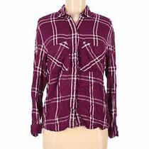 Express Women Purple Long Sleeve Button-Down Shirt M Photo