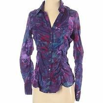 Express Women Purple Long Sleeve Button-Down Shirt S Photo