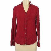 Express Women Red Long Sleeve Button-Down Shirt S Photo