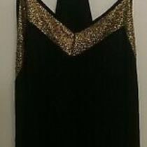 Express Women's Barcelona Cami Tank Top  Black Gold Trim Size Small Sleeveless Photo