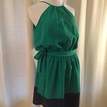 Express Women's Belted Green and Black Sleeveless Dress Medium M Photo