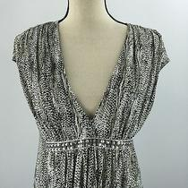 Express Women's Black Animal Print v-Neck Bling Waist Dress Size Medium Photo