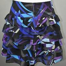 Express Women's Black Blue Purple Tiered Ruffled Mini Skirt 2 New 59.50 Photo