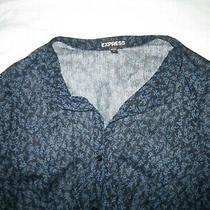 Express Women's Black Blue Sheer Long Sleeve Button Down Shirt Size S Small New Photo