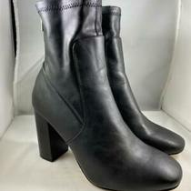 Express Women's Black Faux Leather Ankle Zip Up Heeled Heel Bootie Sz 10 Photo