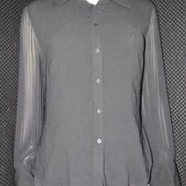 Express Women's Black Sheer Button Up Top Size 7/8 Photo