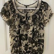Express Womens Black Sheer Floral Short Sleeve Blouse Top Size Xs  Photo