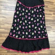 Express Women's Black Silk Floral Skirt Size 3/4 Photo