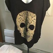 Express Womens Black Slub Knit Cap Sleeve Lace Skull Top  Size Larg Photo