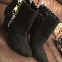 Express Women's Black Suede Ankle Boots With Zipper Size 7 Photo
