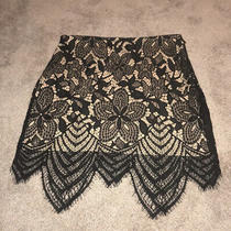Express Women's Black/tan Lace Skirt Size 6 Photo