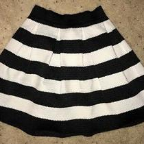 Express Women's Black & White Striped Skater Circle Skirt Xs Euc Textured Photo