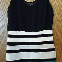Express Women's Black White Teal Stretch Dress - Medium Photo