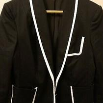 Express Women's Blazer Size 10 Black W/ White Piping/trim 3 Functional Pockets Photo
