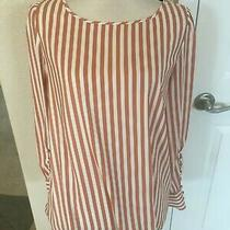 Express Women's Blouse Top Long Sleeve Scoop Neck Apricot Color Striped. Size M Photo