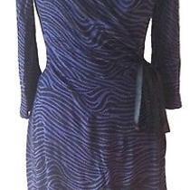 Express Women's Blue Animal Print Black Knit Wrap Dress - Xs Photo