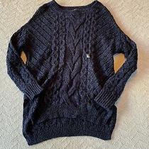 Express Womens Blue & Black Chunky Knit Long Sleeve Sweater Size Xs Photo