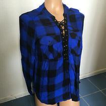 Express Women's Blue/black Plaid Lace Up v-Neck Long Sleeve Shirt - Size S Photo