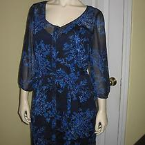 Express Women's Blue Floral Button Front3/4 Sleeve Dress Size M/m Photo