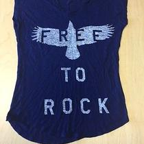 Express Women's Blue Free to Rock T-Shirt Size Small Photo