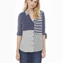 Express Women's Blue Original Fit Mixed Stripe Portofino Shirt Sz M Photo