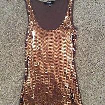 Express Women's Brown With Copper Sequin Tank Medium Photo