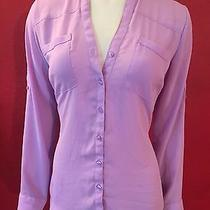 Express Women's Button Down Shirt Lavender Sleeve Tabs Size S Photo