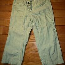Express Women's Capri Linen Pants Aqua Green Striped Sz 0 Photo