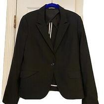 Express Women's Career Black Polyester Blend Blazer Jacket Size 12 Euc Photo