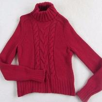 Express Women's Cashmere Blend Cable Knit L/s Solid Red Turtleneck Sweater - L Photo
