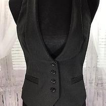 Express Women's Design Studio Vest Top Sz 8 Black Gray Pinstripe Satin Back Sexy Photo