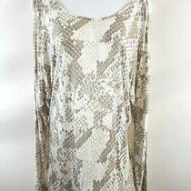Express Women's Dolman White Sparkle Long Sleeve Top Size M Cold Shoulder Nwt Photo