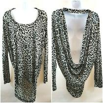 Express Women's Draped Long Sleeve Leopard Print Blouse Size M Cutout Top Euc Photo