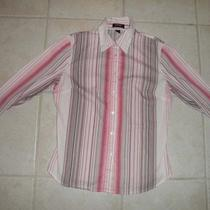 Express Women's Dress Shirt Size 8 Button Down Stretch Pink White French Cuff Ls Photo