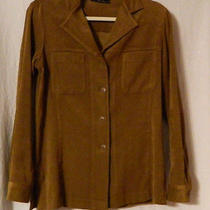 Express Women' S Faux Suede Brown Button Front Shirt Size S Photo