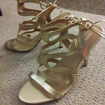 Express Women's Gold Stiletto Heels Size 8 - Straps - Open Toed - Open Back Photo