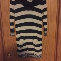 Express Women's Gray and White Striped Sweater Dress With Turtleneck Large Photo