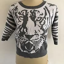 Express Women's Gray White Tiger Print Sweater Sz S 1/2 Length Sleeves Photo