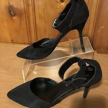 Express Womens High Heel Shoes Size 10 Fabric Upper Ankle Strap Black Photo