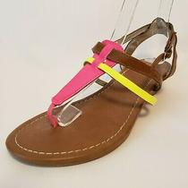 Express Women's Hot Pink Yellow Thong Sandals Size 7 Perfect for Beach Photo
