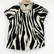 Express Women's Jacket Size M Zebra Print Canvas Blazer Puff Sleeve Black Cream Photo