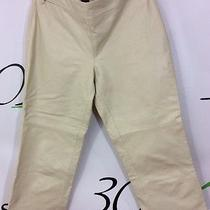 Express Women's Juniors 1 2 Xs Beige Cream Genuine Leather Cropped Crop Pants Photo