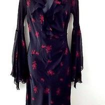 Express Women's Long Sleeve Black Red Floral Silk Festive Dress Sz 7/8 Euc Photo