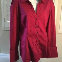Express Womens Long Sleeve Dark Pink Button Down With Silver Cuff Accents Photo