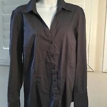 Express Womens Long Sleeve Gray Button Down With Silver Cuff Accents Size Large Photo