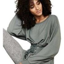 Express Womens Long Sleeve Peplum Corset Sweater Sage Color Size Medium Photo