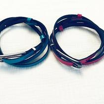 Express Women's Lot of 2 Leather Belts Adjustable  Pink Blue Silver Buckles Photo