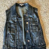 Express Womens Medium Wash Denim Vest Size Xs Sleeveless Jean Jacket Photo