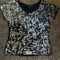 Express Womens Metallic  v-Neck Sequin Cap Sleeve Top Shirt Size Xs Photo